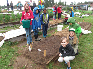 fourth grade pea bed just planted_7436