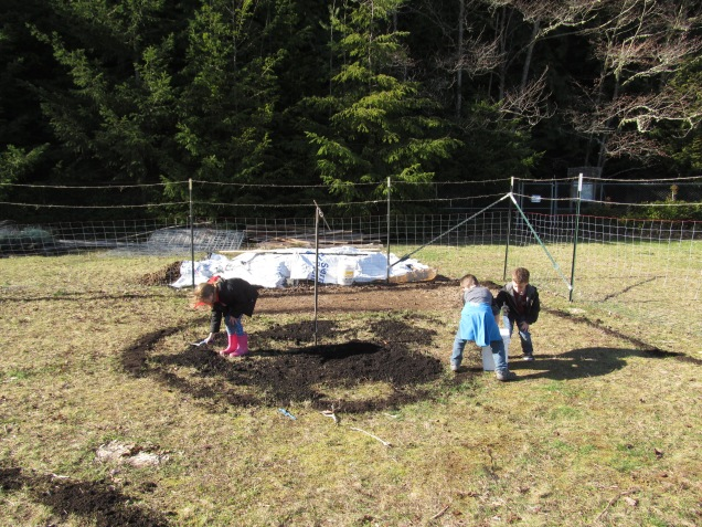 Until the whole circle was covered with compost and ready for plowing.