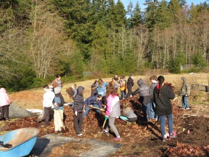 Moving the pile of leaves. Many hands make light work.